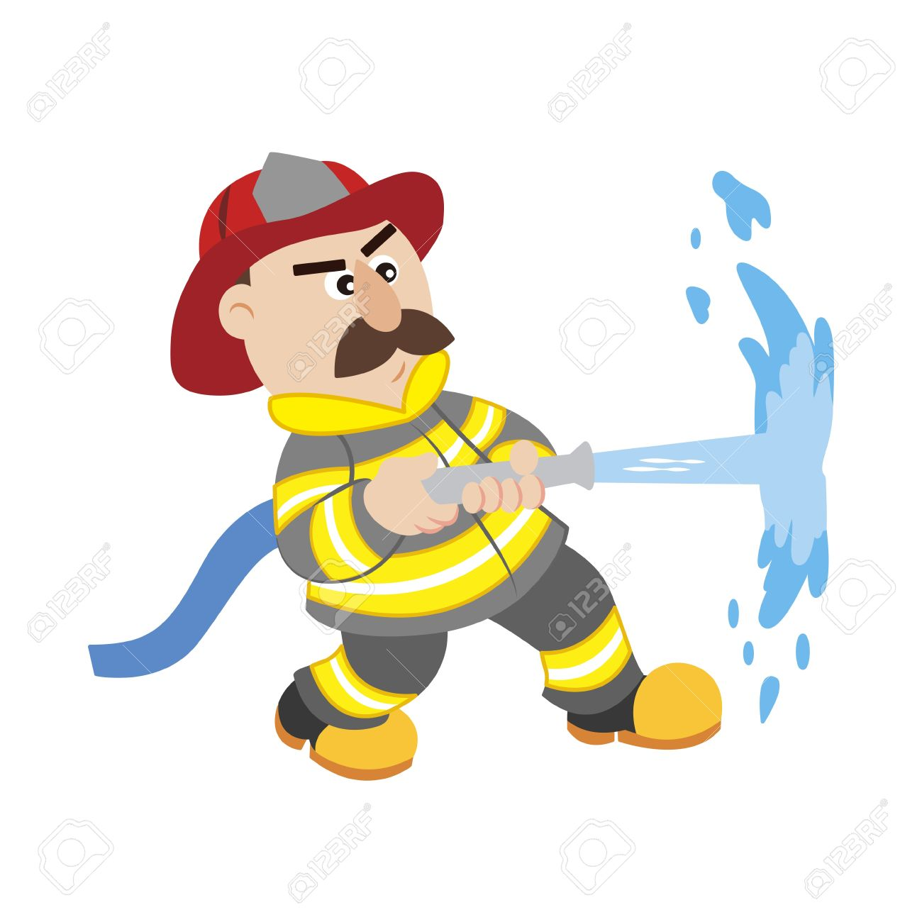 An Illustration Of Cartoon Fireman ,vector Royalty Free Cliparts.