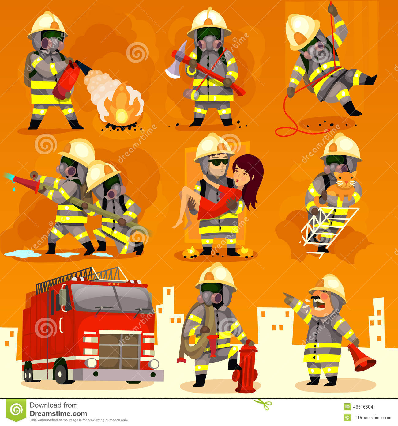Set Of Fireman At Work Stock Vector.