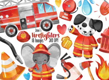 Watercolor Firefighters Clipart.