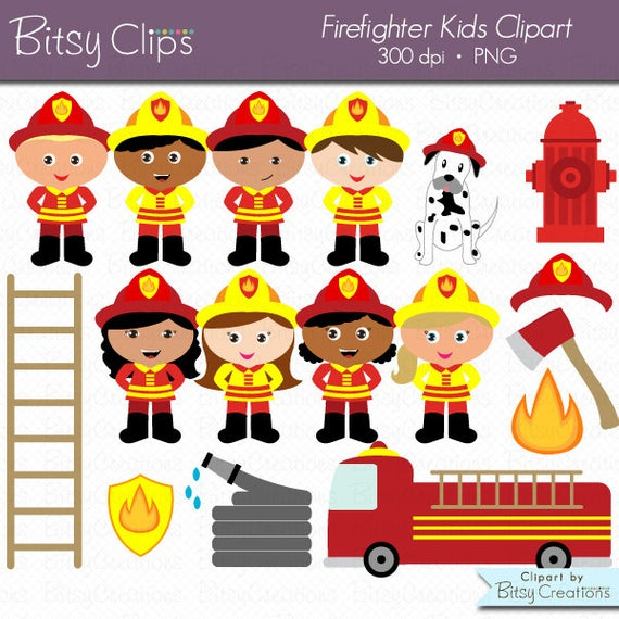Firefighter Kids Digital Art Set Clipart Commercial Use Clip Art INSTANT  Download Fireman Clipart Firemen Clipart Girl Firefighters.
