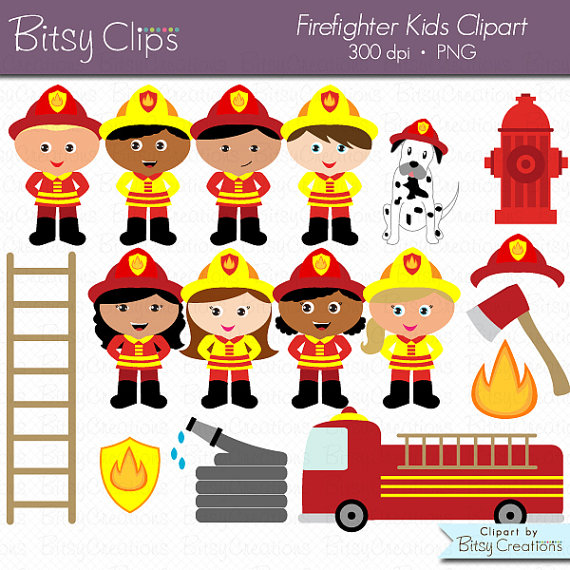 Firefighter Girl Multicultural Clipart.