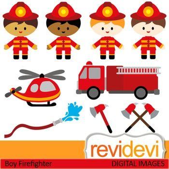 Firefighter clip art (kids, boys) clipart.