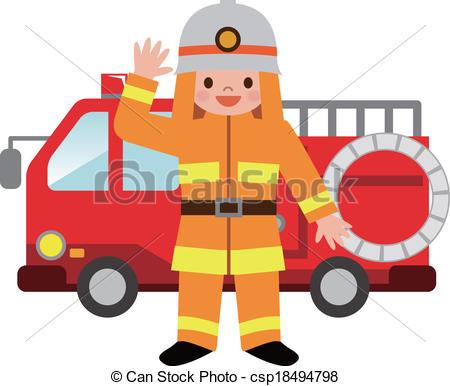 Cute Firefighter Clipart.
