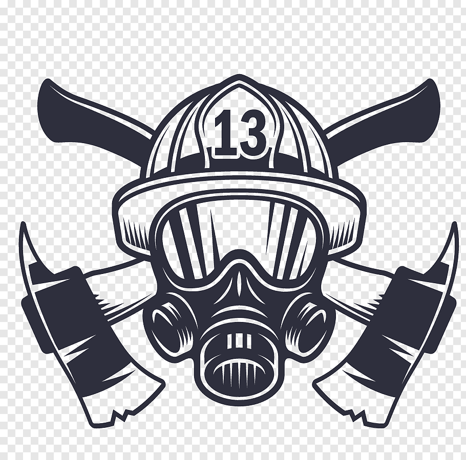 Fireman mask with axe logo illustration, Firefighters helmet.