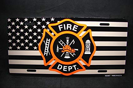 Amazon.com: Fire Department Firefighters Logo Metal License.