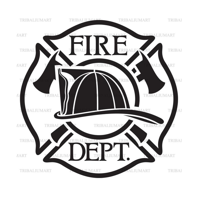 Fire Department or Firefighters Maltese Cross Symbol. Cut files for Cricut,  Clip Art silhouettes (eps, svg, pdf, png, dxf, jpeg)..