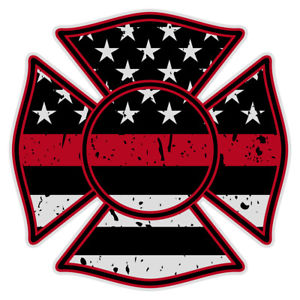 Details about Firefighter Maltese Cross Distressed Black Flag Red Line  Reflective 2