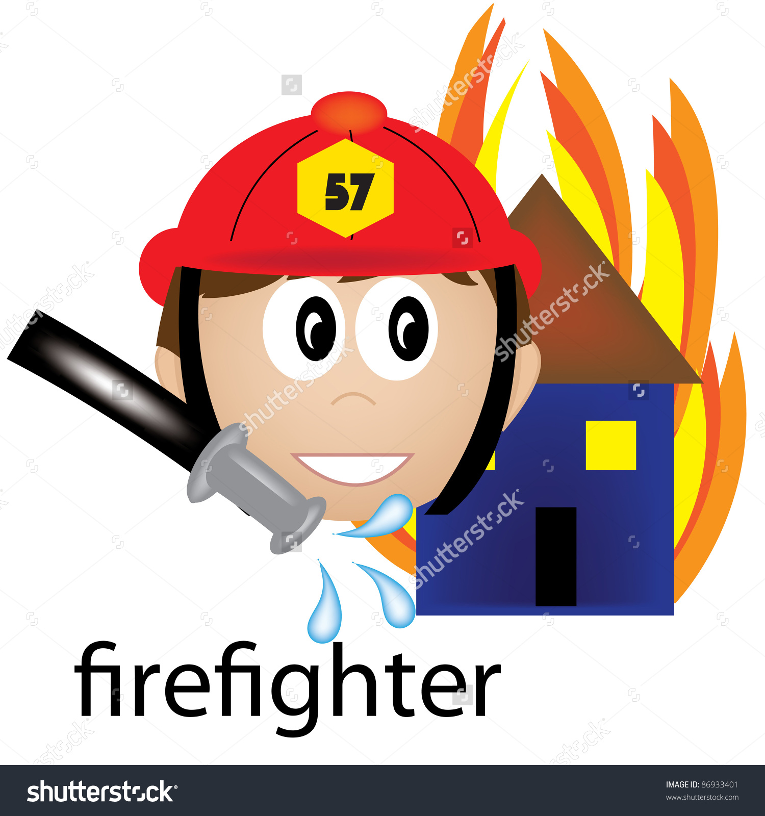Clip Art Illustration Occupation Icon Firefighter Stock.