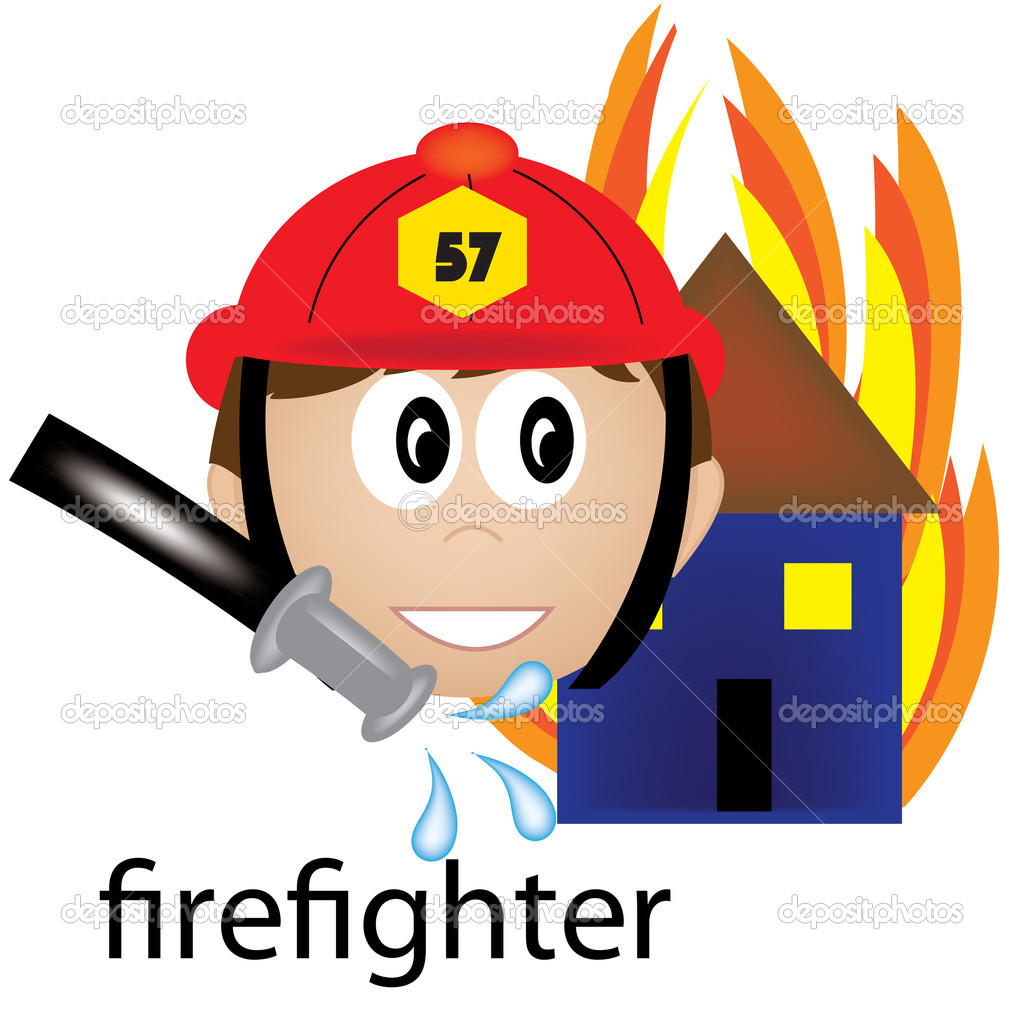 Clip Art Illustration of a Firefighter Job Icon — Stock Photo.