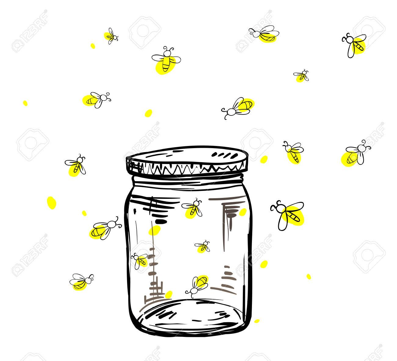 fireflies flying around the jar in hand drawing.