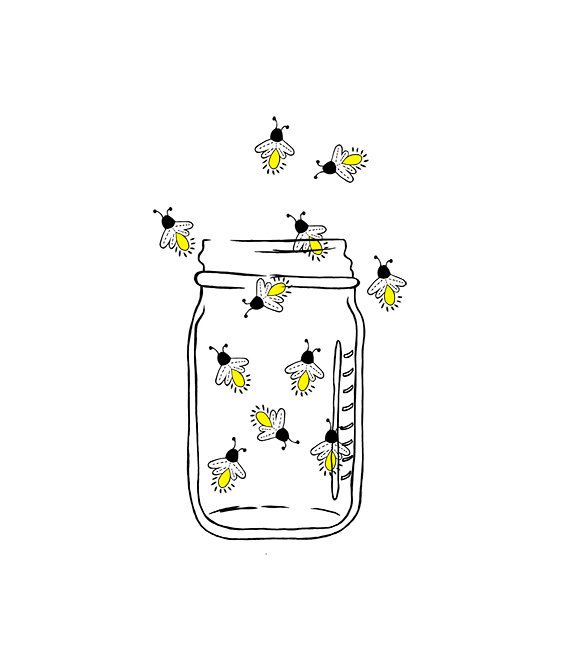 Mason Jar Image Fireflies Lightning bugs Digital by 641Digital.