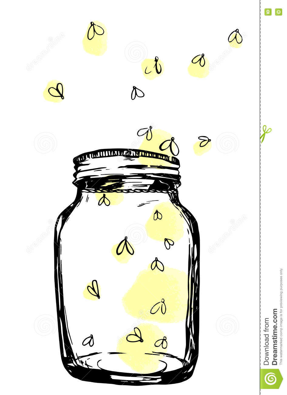 Jar Fireflies Stock Illustrations.
