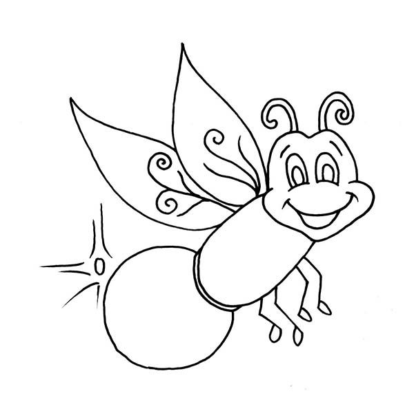 Firefly, : Beautiful Firefly Coloring Page.