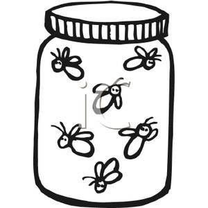 Black and White Fireflies In A Jar.