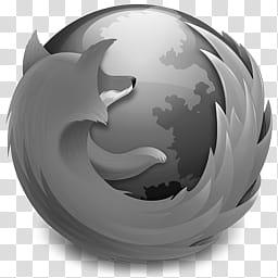 Firefox Icon, Mozilla Firefox . Gray transparent background.