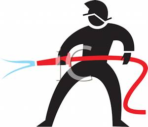 Black Silhouette of a Man with a Fire Hose.