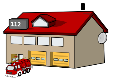 Black and white fire house clipart.