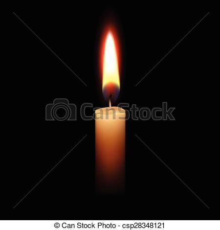 Vector Illustration of Candle Flame Fire Light Isolated Background.