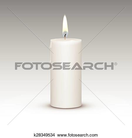 Clipart of Candle Flame Fire Light Isolated on Background.