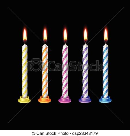 Vectors Illustration of Birthday Candles Flame Fire Light Isolated.