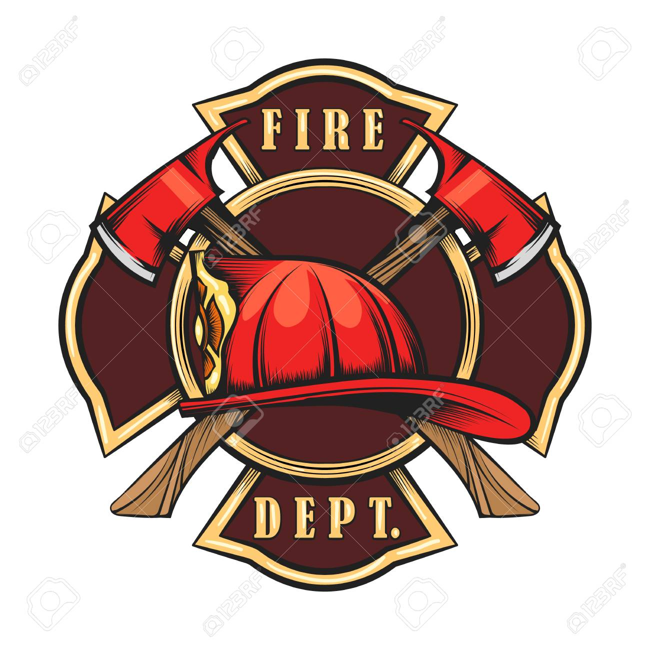 Fire Department Emblem with Red Helmet and Axes. Firefighter...
