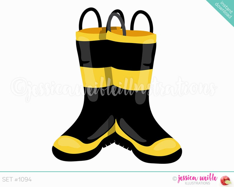 Instant Download Firefighter Boots Clip Art, Cute Digital Clipart, Boot  Clipart, Rubber Boots Graphic, Firefighter Boots Illustration, #1094.