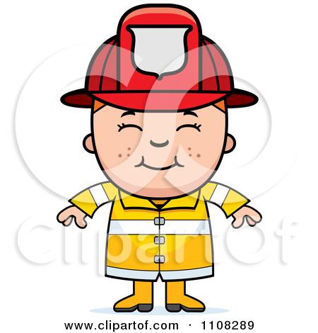 Brown Boy Firefighter Clipart.