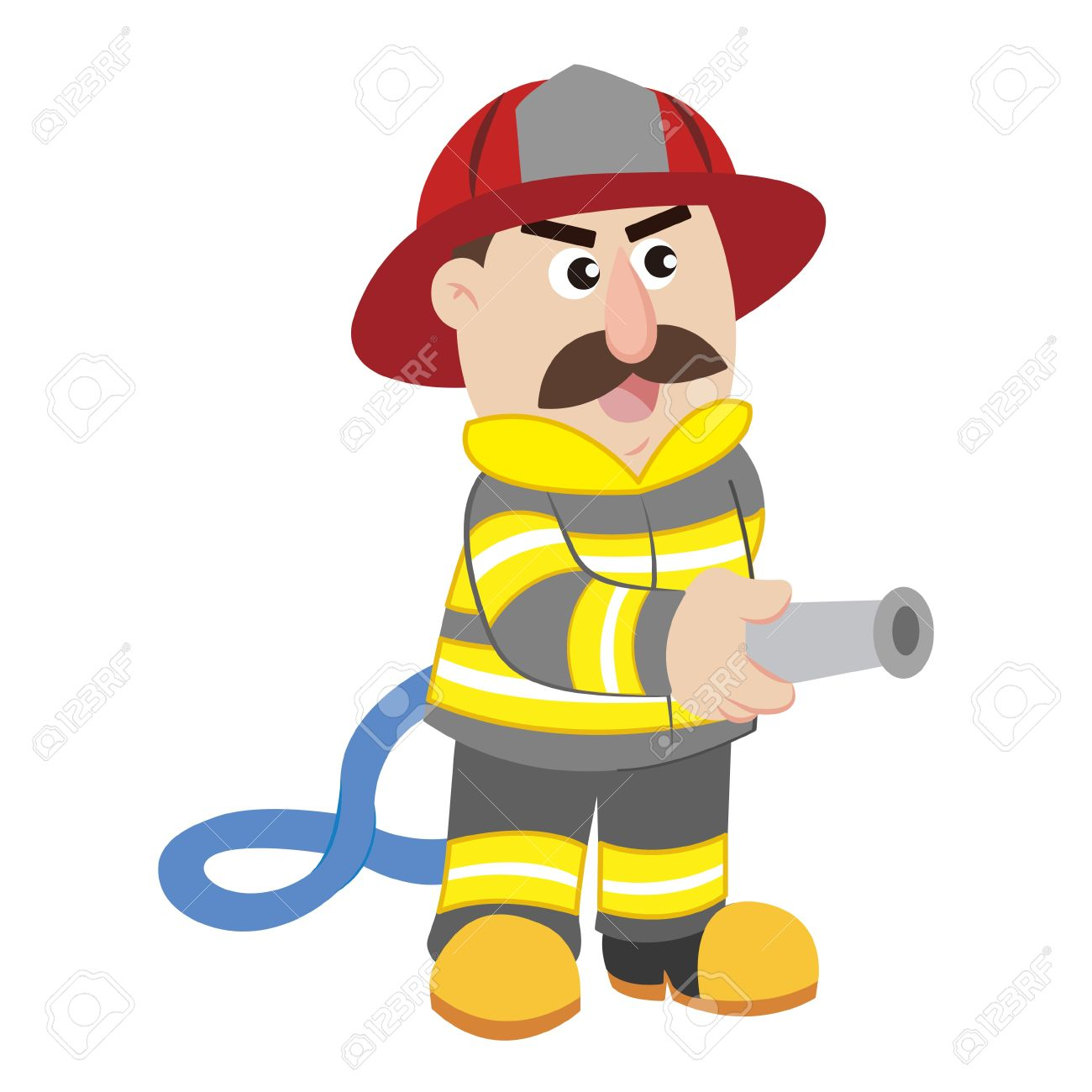 an illustration of cartoon fireman.