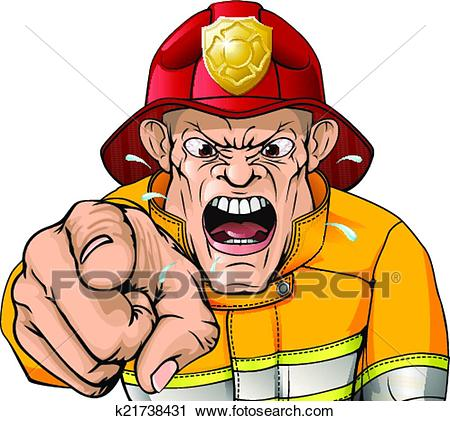 Angry fireman cartoon Clipart.