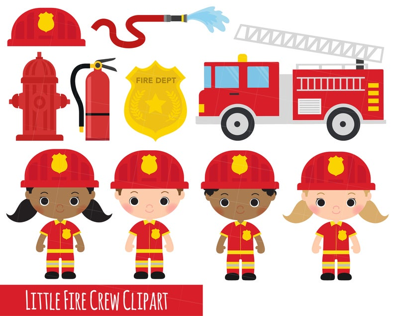 little fire crew clipart, fireman clipart, fire engine clipart x 14 clipart  images 300 dpi transparent png.