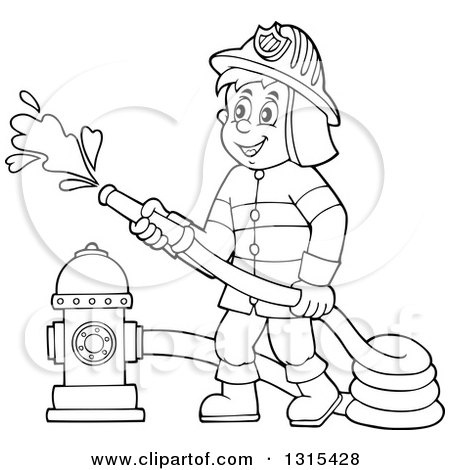 Clipart Of A Cartoon Happy Black And White Male Fireman Using A in.