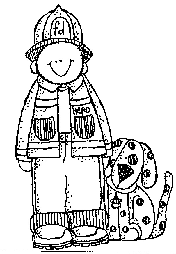 Fireman firefighter black and white clipart clipart kid.