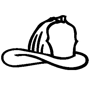 Fire hat clipart black and white letters example.