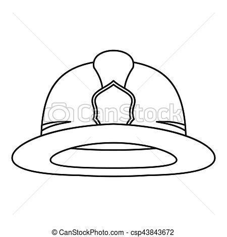 Fireman helmet icon, outline style.