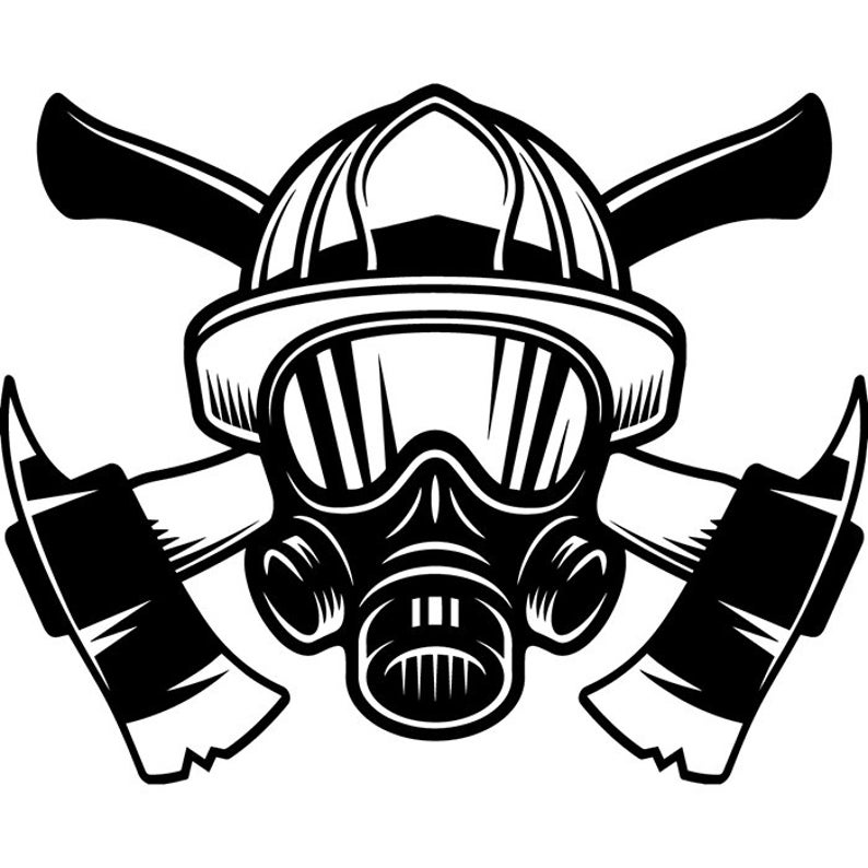 Firefighter Logo #53 Firefighting Helmet Axes Mask Shield Rescue Fireman  Fighting Fight Fire Emergency .SVG .PNG Vector Cricut Cut Cutting.