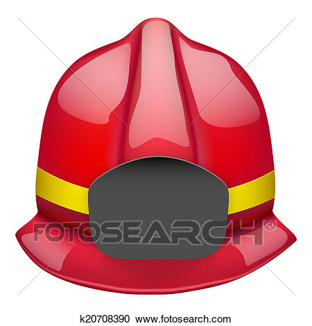 Red fireman glossy helmet. Isolated on white background. Bitmap copy.  Clipart.