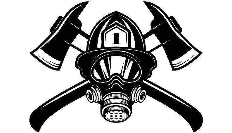 Firefighter Logo #14 Firefighting Helmet Mask Axes Fireman Fighting Fight  Fire Rescue Emt .SVG .EPS .PNG Clipart Vector Cricut Cut Cutting.
