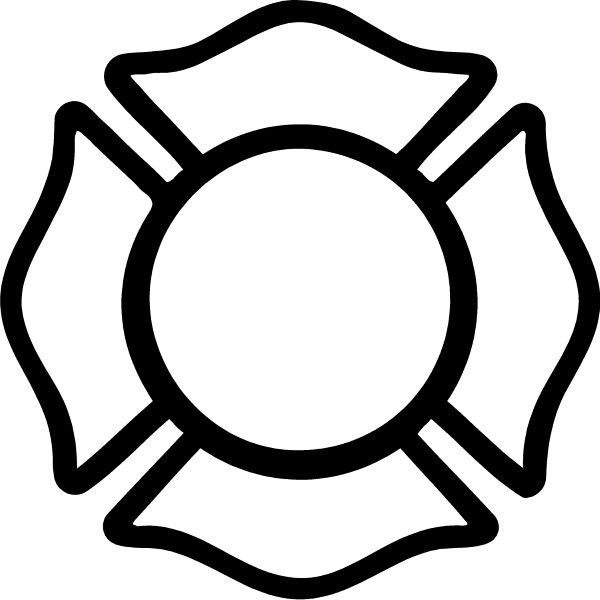 Black and White Firefighter Maltese Cross.