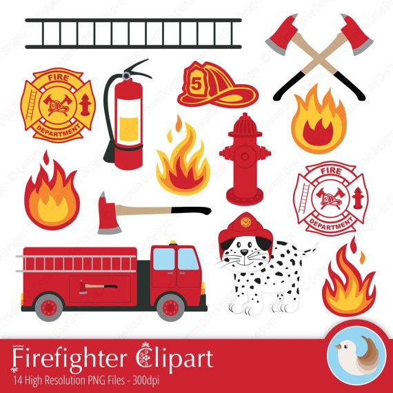 Matching Clipart! Bright and Fun! Firefighter Clipart.