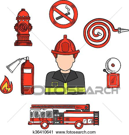 Fireman in uniform with firefighting equipments Clipart.