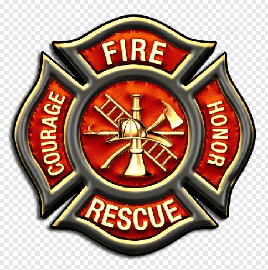 Red and gray fire fighter crest illustration, Firefighter.