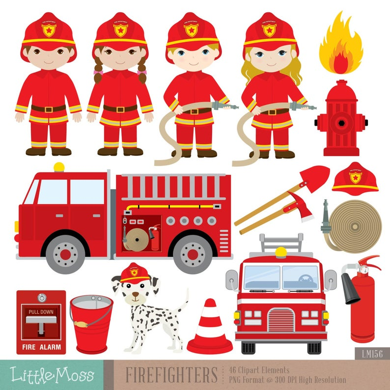 Firefighters Digital Clipart, Fireman Clipart.