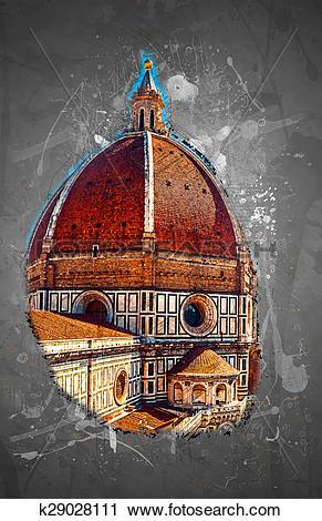Clipart of The Basilica di Santa Maria del Fiore, Florence, Italy.