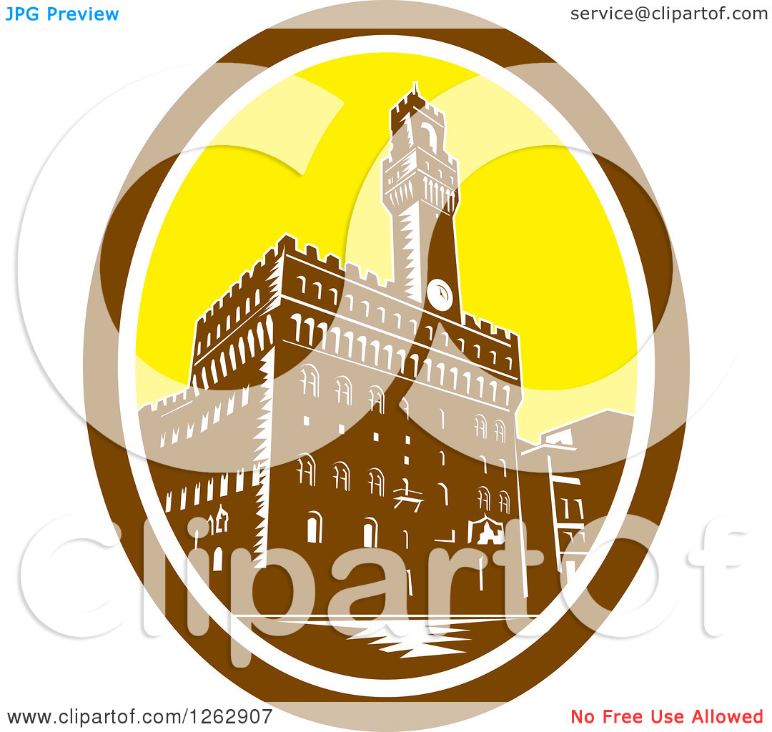 Clipart of a Retro Woodcut View of the Tower of Palazzo Vecchio in.