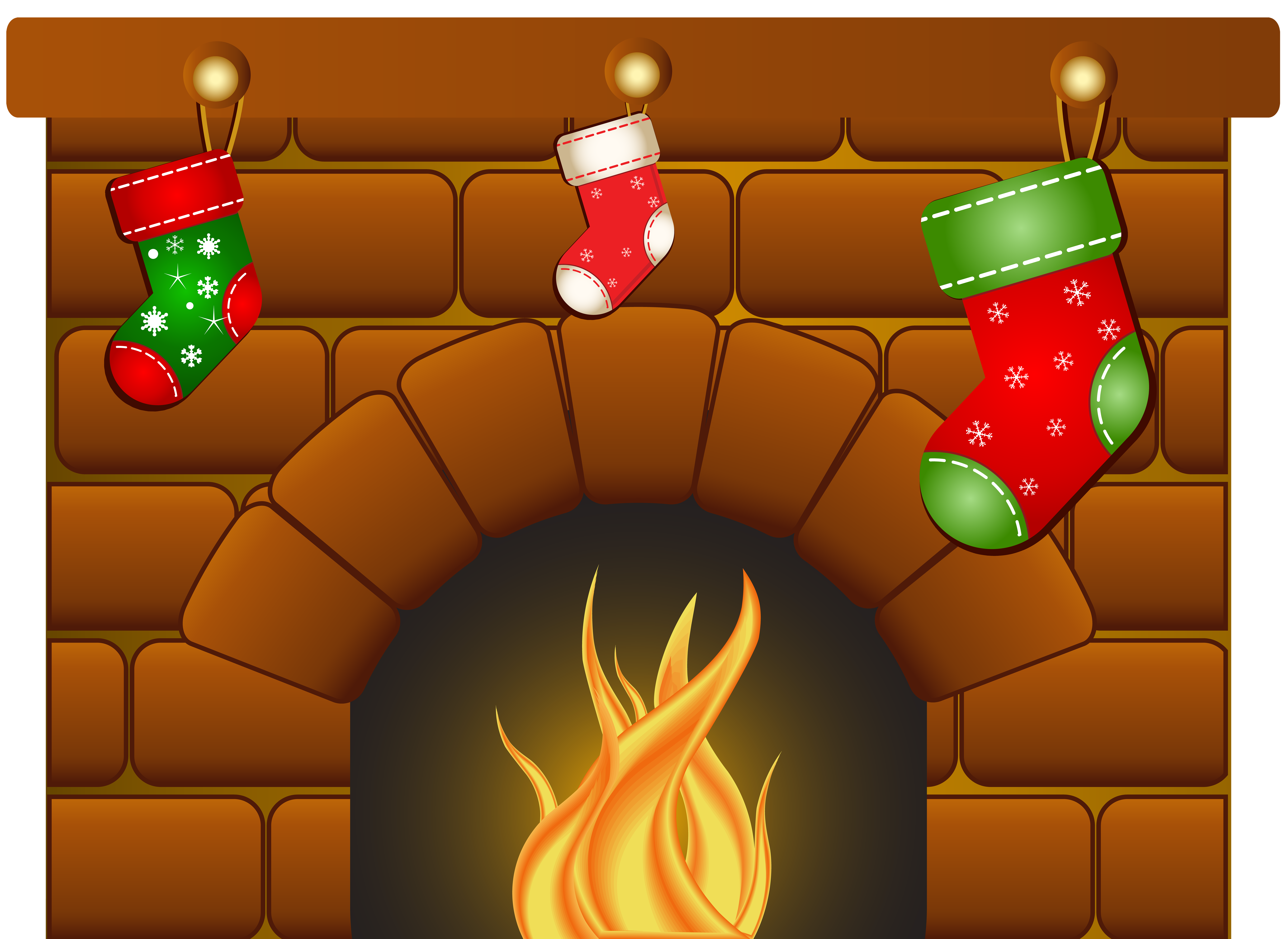 Christmas Fireplace PNG Clip Art Image.