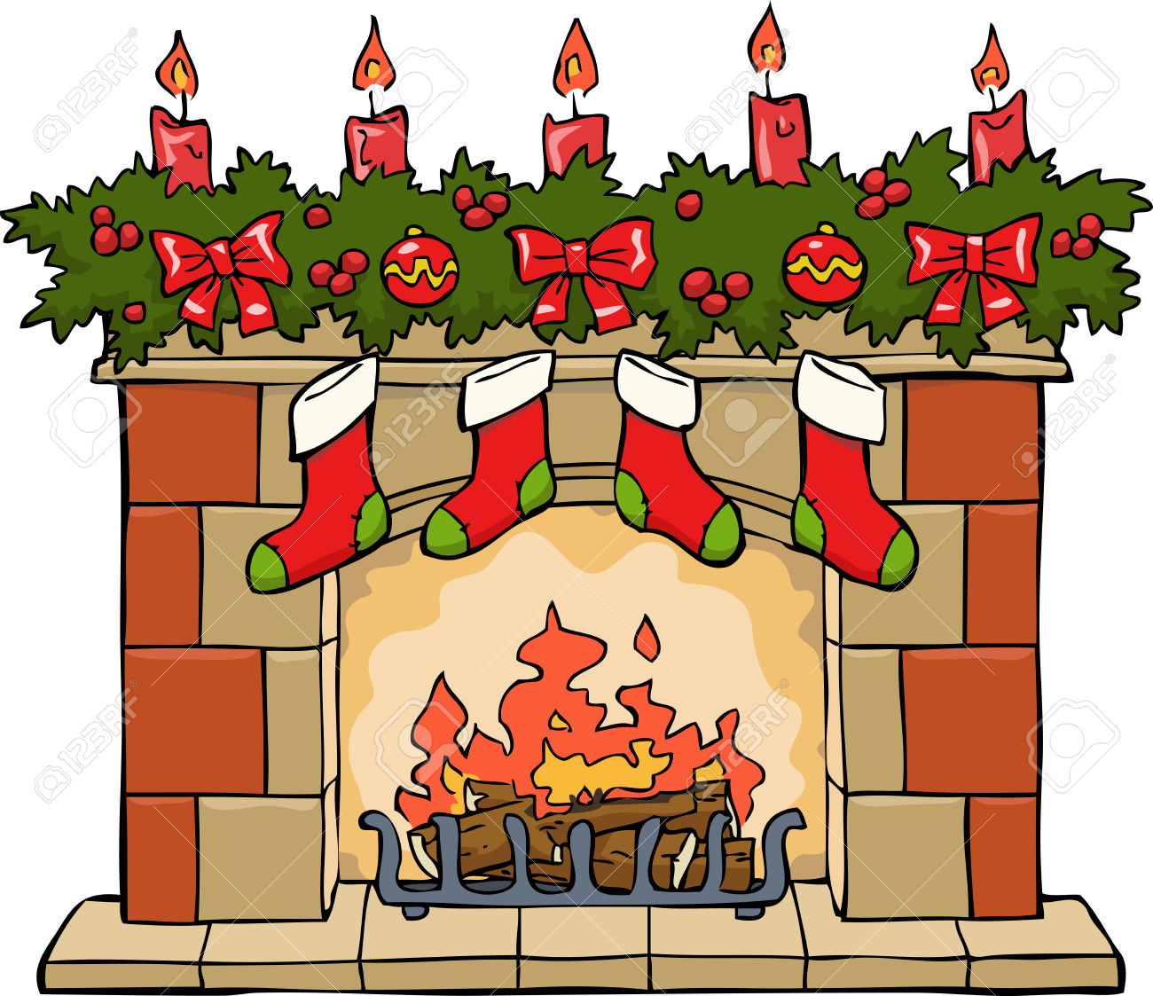 Free fireplace clip art 2.