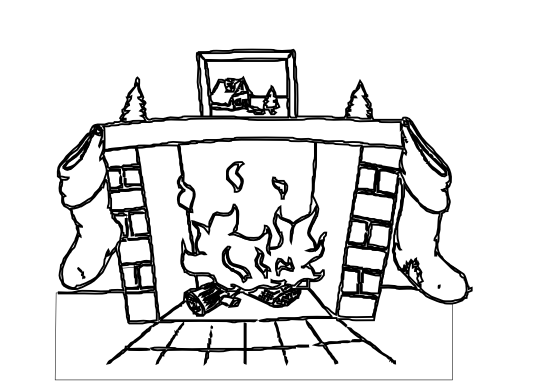 Christmas Fireplace Clipart Black And White.