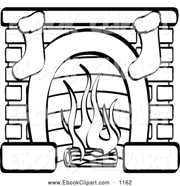 Vector Clip Art of a Black and White Fireplace with Two Christmas.