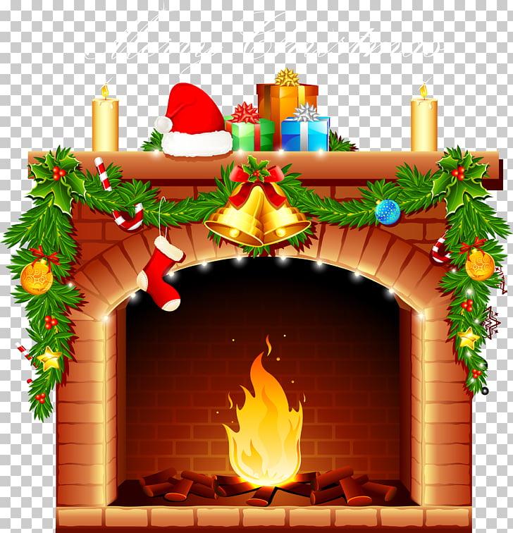 Santa Claus Fireplace Christmas Pillow , Fireplace PNG.