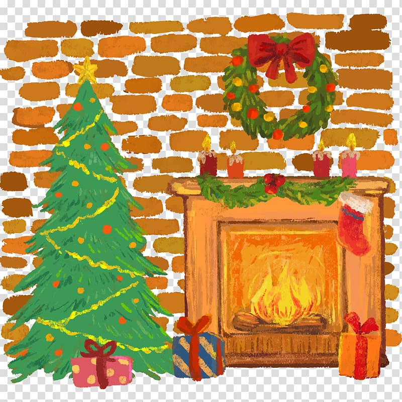 Christmas tree Furnace Fireplace Santa Claus, illustration.